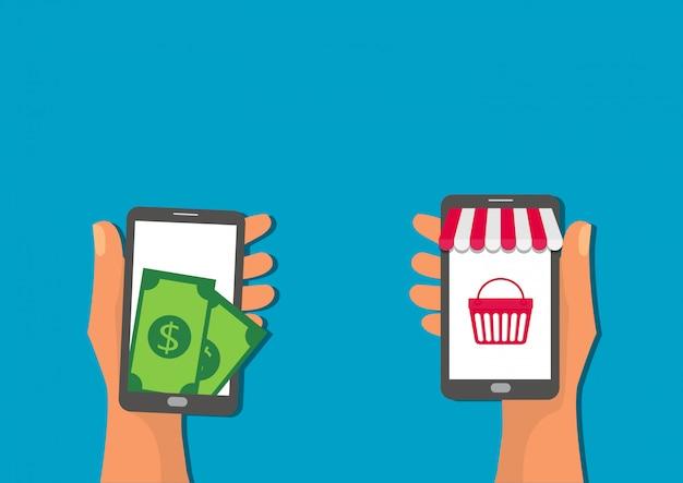Online-shop-pay-button-einkaufsikonen-konzept der mobilen anwendung des handgriffs flach