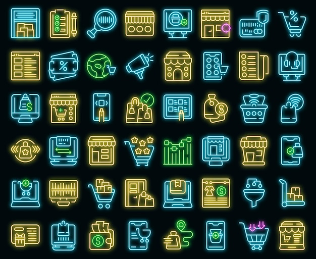 Online-shop-symbole setzen umrissvektor. einzelhandelsgeschäft. geldverkauf