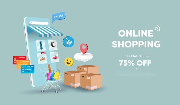 Online-shop und handy-design. intelligentes business-marketing-konzept. horizontale ansicht.
