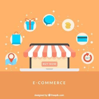 Online-shop und shopping-icons mit flachem design