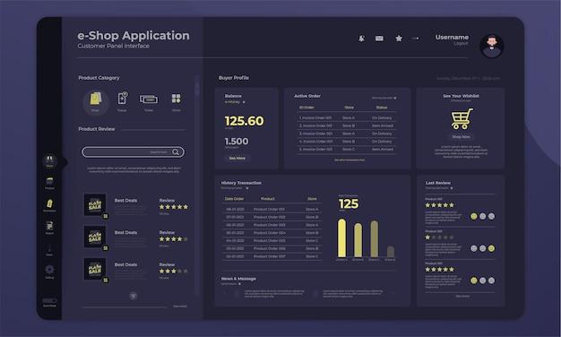 Online-shopping-anwendung auf der dashboard-käufer-panel-oberfläche mit dark-mode-konzept