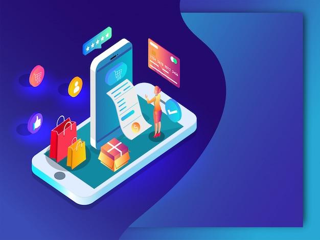 Online-shopping-app im smartphone mit zahlungsbeleg