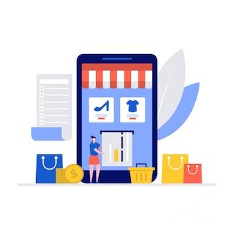 Online-shopping-app-konzept mit zeichen unter verwendung von smartphone, kreditkarte.