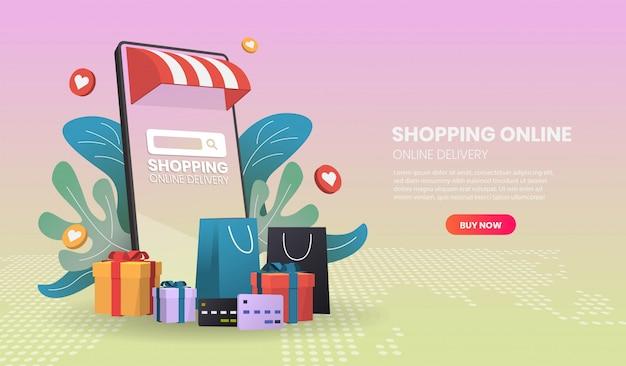 Online-shopping auf dem handy. online-lieferservice.3d vektor-illustration.