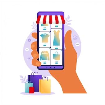 Online-shopping auf dem handy. online-shop-zahlung. bankkreditkarten, sichere online-zahlungen und finanzrechnung. smartphone-geldbörsen, digitale bezahlungstechnologie. flache vektorillustration.