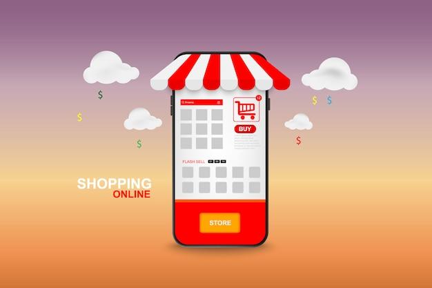 Online-shopping auf dem handy. vektor