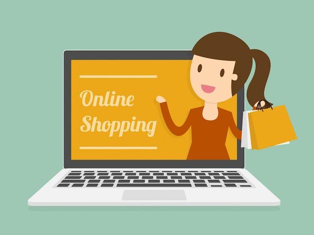 Online-shopping auf dem laptop