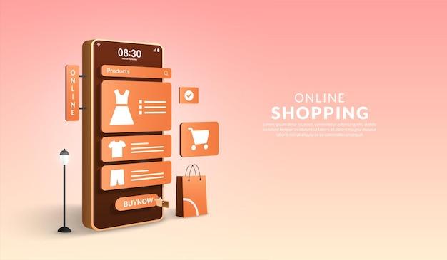 Online-shopping auf dem mobilen anwendungskonzept digitales marketing online 3d-smartphone mit shop-tasche