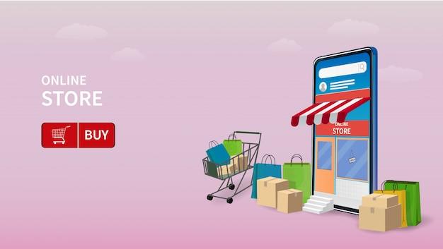 Online-shopping auf der website oder in der mobilen anwendung