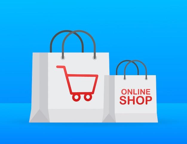 Online-shopping auf der website. online-shop, shop-konzept.
