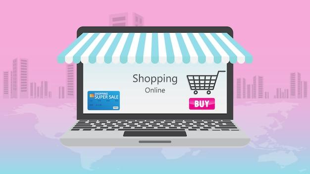 Online-shopping auf handy-anwendungskonzept