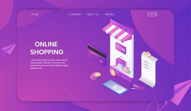 Online-shopping auf smartphone-konzept