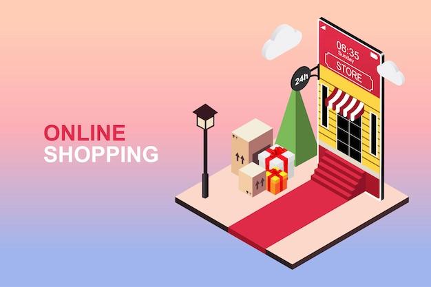 Online-shopping auf smartphone, mobile anwendung. flaches isometrisches konzept
