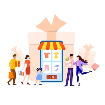 Online-shopping auf website oder app. kleidung online kaufen. e-commerce- und lieferkonzept. bestellen sie waren und erhalten sie sie schnell und einfach. illustration