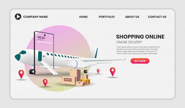 Online-shopping auf website oder handy mit flugzeug anwendung 3d-illustration für landing page