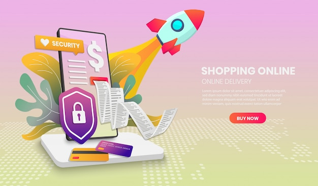 Online-shopping auf website oder handy mit rakete application vector 3d vektor-illustration