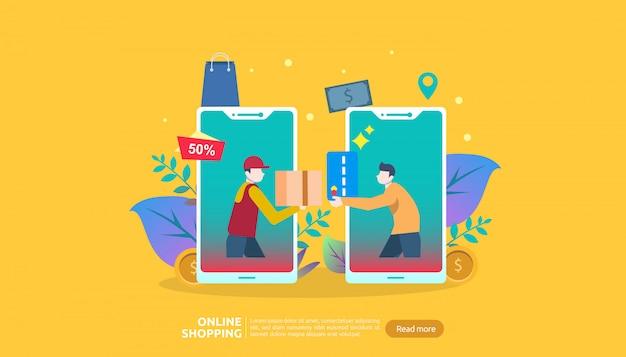 Online-shopping-banner-vorlage. geschäftskonzept für sale e-commerce.
