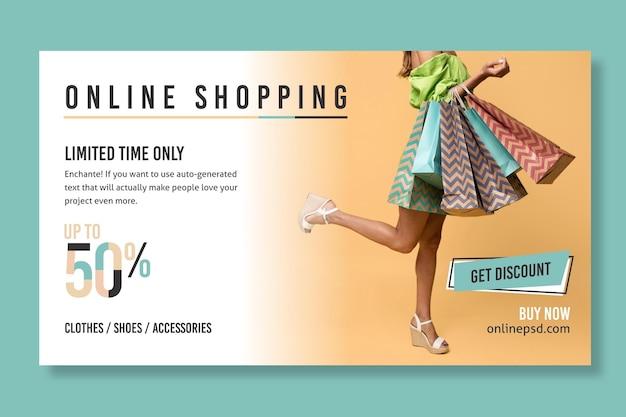 Online-shopping-banner-vorlage mit foto