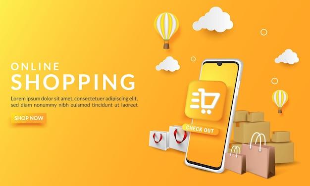 Online-shopping-banner-vorlage mit handy, einkaufstaschen und ballon.