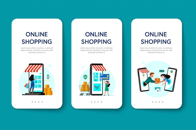 Online-shopping-banner, vorlagen für mobile apps, flaches konzeptdesign