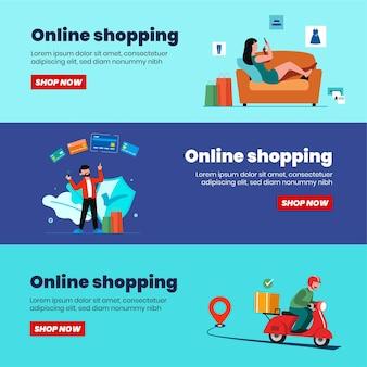 Online-shopping-banner, vorlagen für mobile apps, flaches konzeptdesign