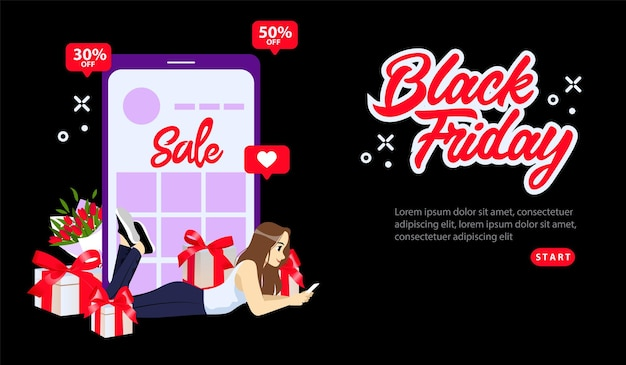 Online-shopping, black friday super sale-konzept. black friday sonderangebote mit 30 oder 50 rabatt auf den preis. mädchen, das online mit smartphone einkauft.