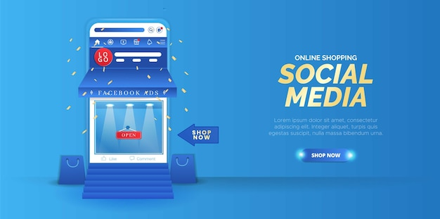Online-shopping-design in sozialen medien mit smartphone-elementen