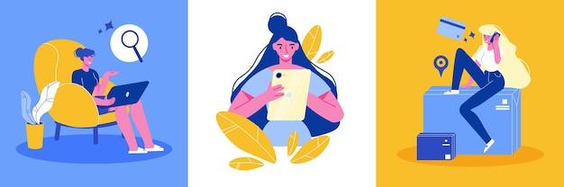 Online-shopping-design-konzept mit satz quadratischer illustration