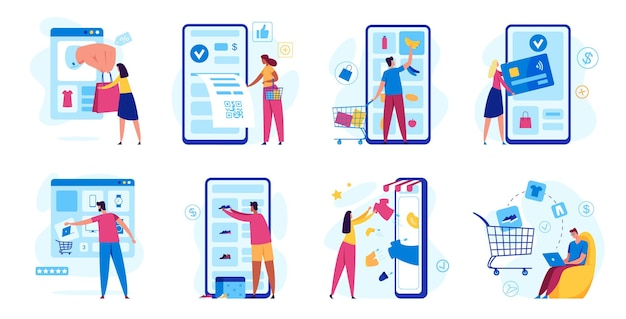 Online-shopping digitales bezahlen mit smartphone kunde kauft im internet-shop