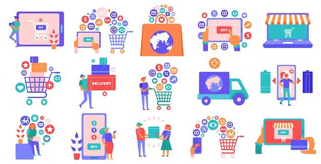 Online-shopping e-commerce flache symbole mit smartphone tablet laptop korb kreditkartenzahlung eingestellt