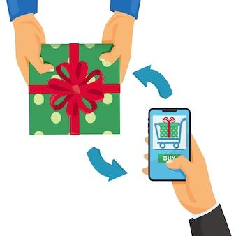 Online-shopping-e-commerce-konzept mobiles einkaufen