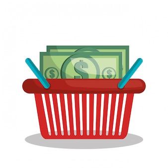 Online-shopping-e-commerce-korb isoliert