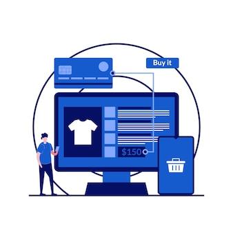 Online-shopping, e-commerce, online-shop, fernhandelskonzepte mit charakter. geld von kreditkarte überweisen.