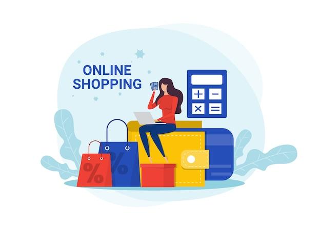 Online-shopping.frau macht online-bestellungen und kauft über das internet, e-commerce-konzept.