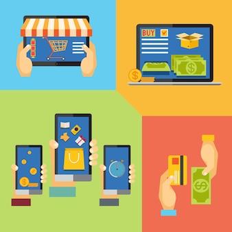 Online-shopping für online-shop, tasche hinzufügen, zahlungsmethoden
