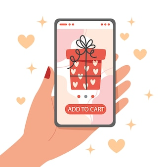 Online-shopping für valentinstagsgeschenk mit smartphone