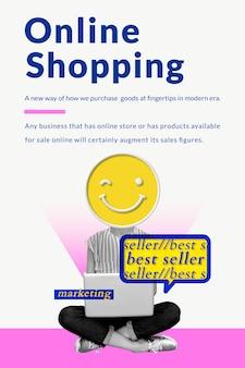 Online-shopping-geschäftsvorlage mit kreativen vermarkter-remixed-medien