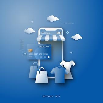Online-shopping-hintergrund, mit einer illustration des einkaufens für kleidung.