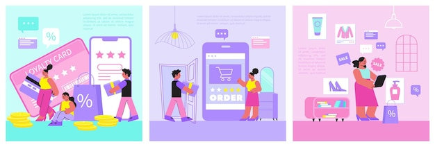 Online-shopping-illustrationen satz treueprogramm illustration