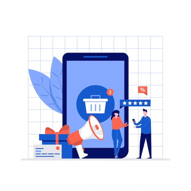 Online-shopping-illustrationskonzept mit charakteren.