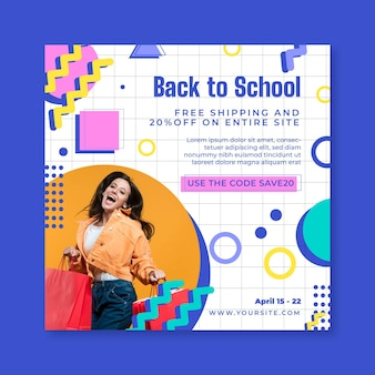 Online-shopping im quadrat flyer