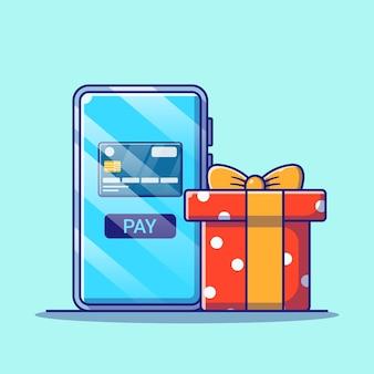 Online-shopping in der mobilen anwendung mit kreditkartenillustration. shopping-icon-konzept isoliert.