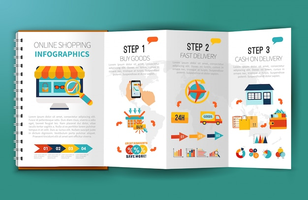 Online-shopping infografiken-broschüre