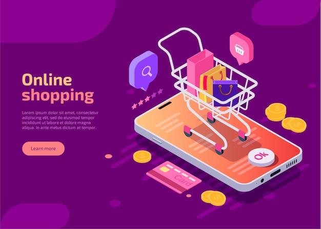 Online-shopping, isometrische konzeptillustration.
