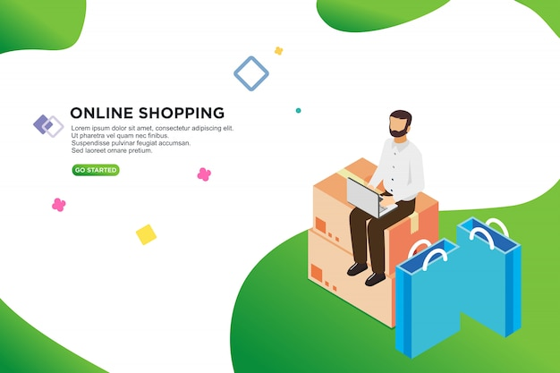 Online-shopping isometrisches design