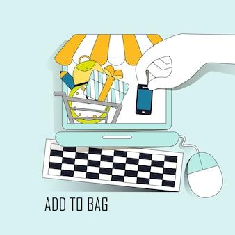 Online-shopping-konzept: fügen sie produkte im thin-line-stil zur tasche hinzu Premium Vektoren