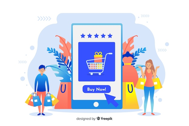 Online-shopping-konzept für die landingpage