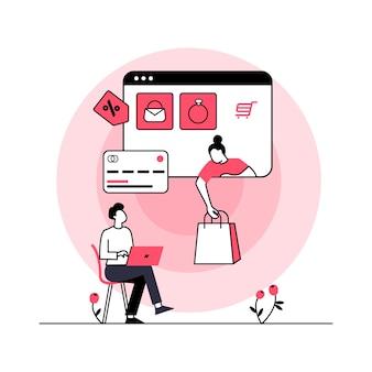 Online-shopping-konzept für landingpage