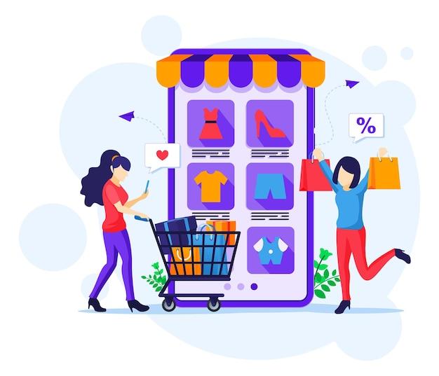 Online-shopping-konzept. glückliche junge frauen, die produkte im online-bewerbungsspeicher kaufen