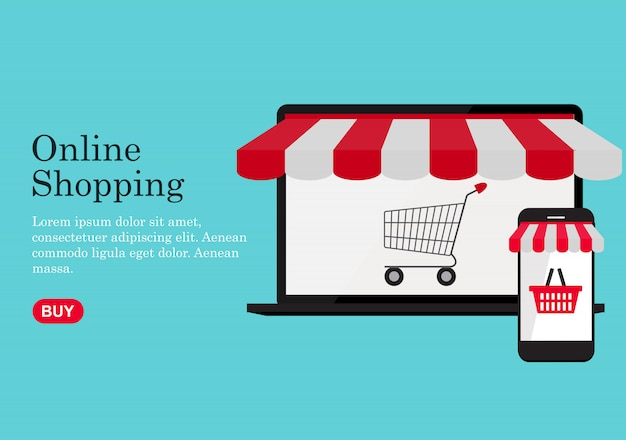 Online-shopping-konzept hintergrund. illustration